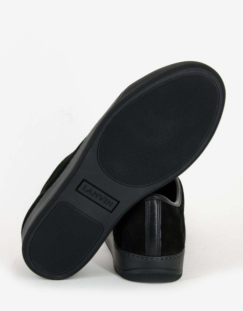 Black Suede Trainers with Leather Toe Cap
