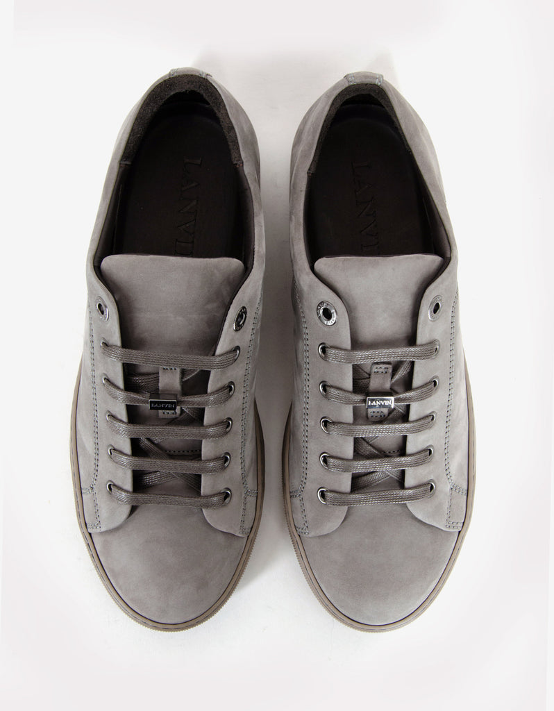 Grey Nubuck Leather Trainers