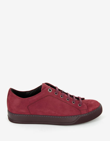 Lanvin Dark Red Nubuck Leather Trainers