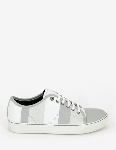 Lanvin White Mixed Leather Striped Trainers