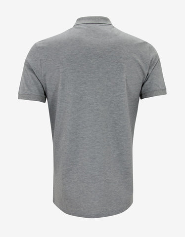 Lanvin Grey Contrast Front Polo T-Shirt