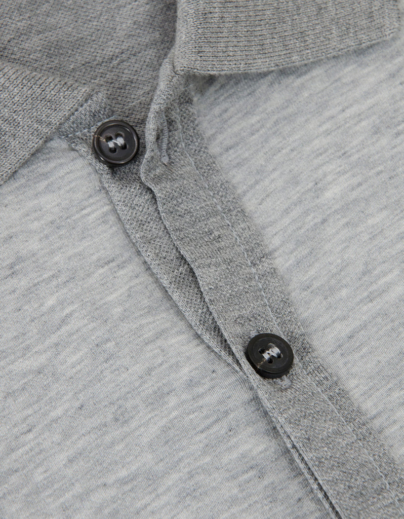 Grey Contrast Front Polo T-Shirt