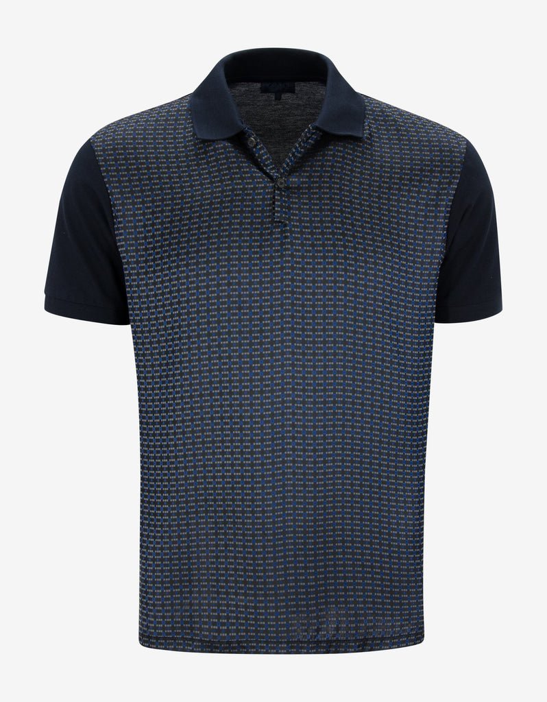 Navy Blue Contrast Front Polo T-Shirt