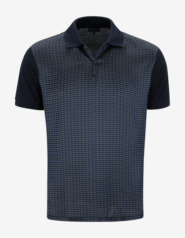 Lanvin Navy Blue Contrast Front Polo T-Shirt