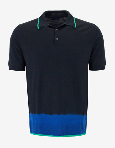 Lanvin Navy Blue Tie & Dye Polo T-Shirt
