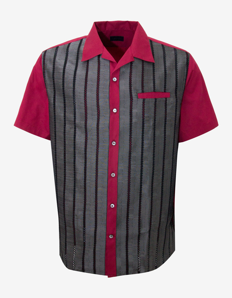 Red Contrast Front Short Sleeve Shirt