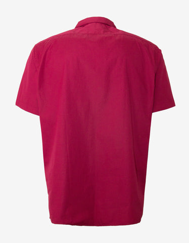 Lanvin Red Contrast Front Short Sleeve Shirt