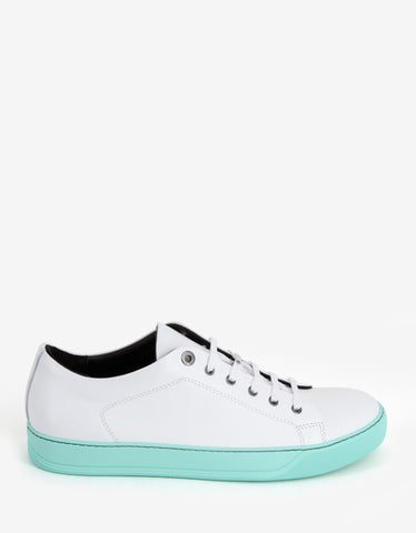 Lanvin White Leather Trainers with Mint Green Sole