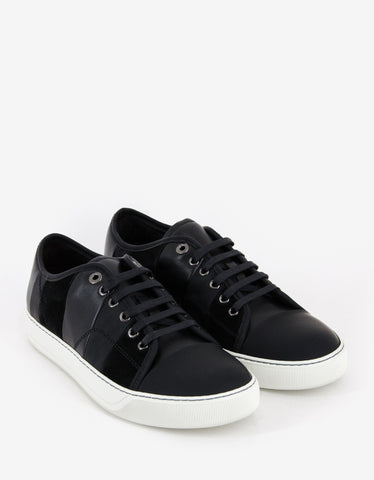 Lanvin Black Mixed Leather Striped Trainers