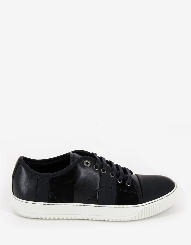 Black Mixed Leather Striped Trainers