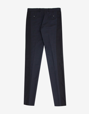 Lanvin Navy Blue Trousers with Contrast Band