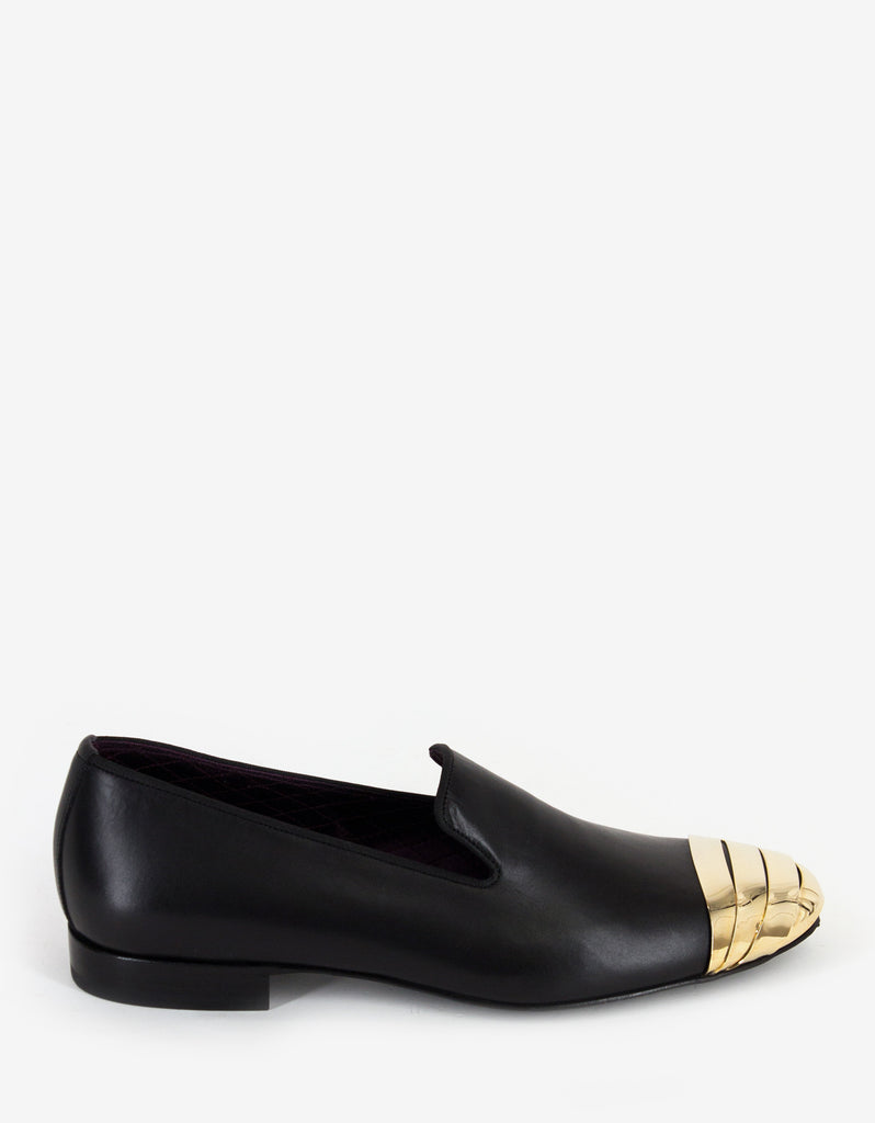 Black Leather Slippers with Metal Captoe