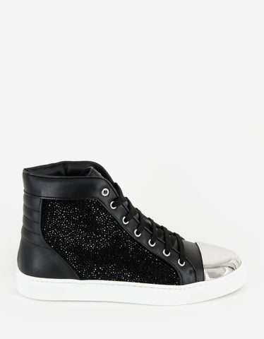 Louis Leeman Black Swarovski High Top Trainers