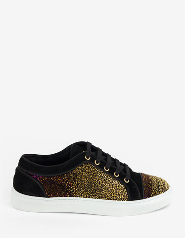 Louis Leeman Swarovski Gradient Dark Suede Leather Trainers