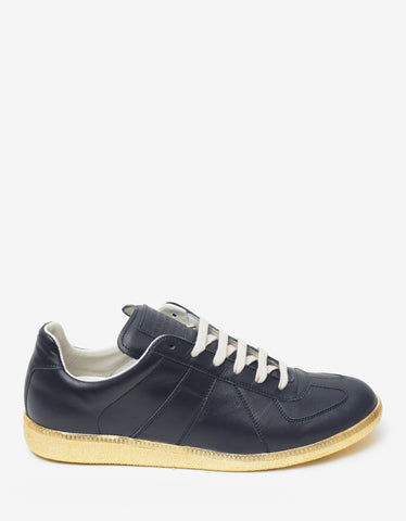 Maison Margiela Replica Blue & Gold Leather Trainers