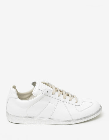Maison Margiela Replica White & Silver Leather Trainers
