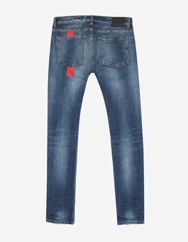 Marcelo Burlon Blue Distressed Slim Fit Denim Jeans