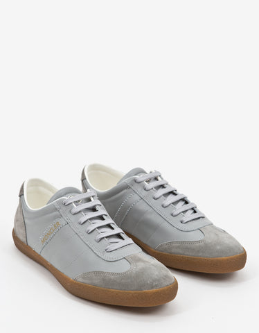 Moncler Grey Leather Biarritz Trainers