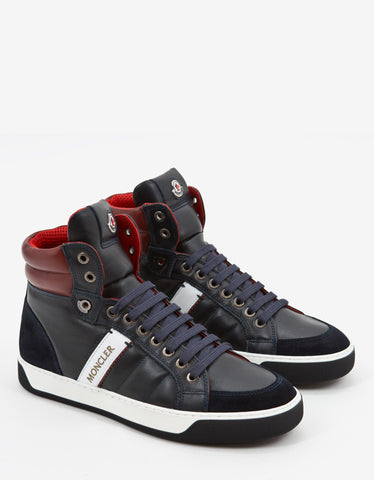 Moncler Navy Blue New Lyon Leather High Top Trainers