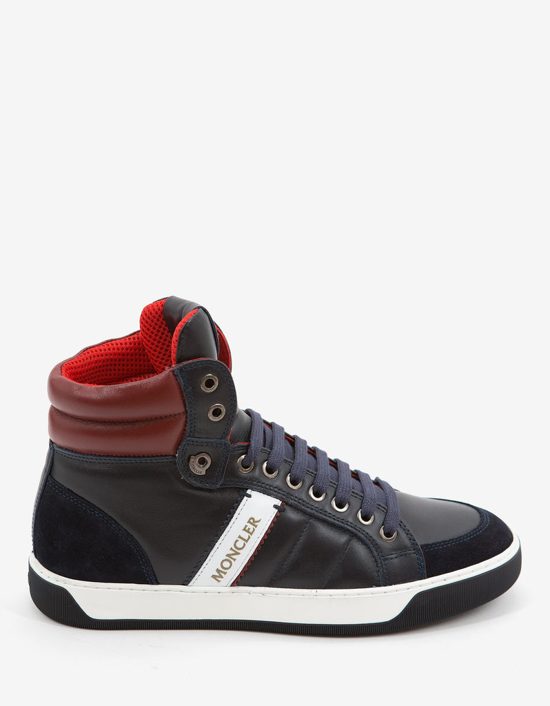 Navy Blue New Lyon Leather High Top Trainers