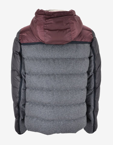Moncler Grey Julio Wool Panelled Down Jacket