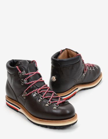 Moncler Brown Leather Hiking Boots with Tricolour Laces