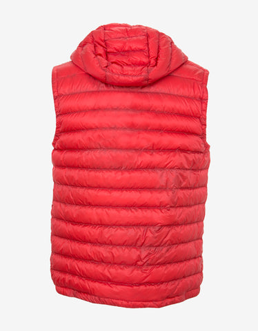 Moncler Red Naples Lightweight Hooded Down Gilet