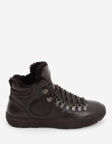 Moncler Brown Leather Hiking Boots