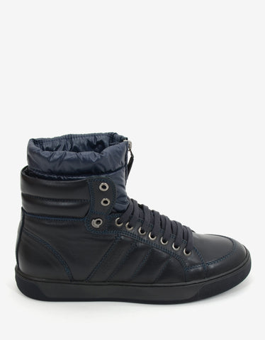 Moncler Navy Blue High Top Trainers with Contrast Fabric