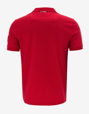 Moncler Gamme Bleu Red Logo Badge Polo T-Shirt