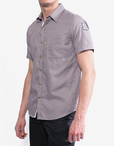 Moncler Gamme Bleu Gingham Check Short Sleeve Shirt