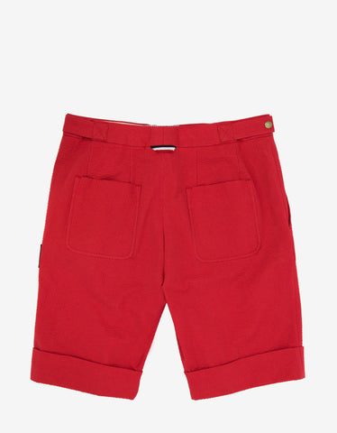 Moncler Gamme Bleu Red Seersucker Cotton Shorts