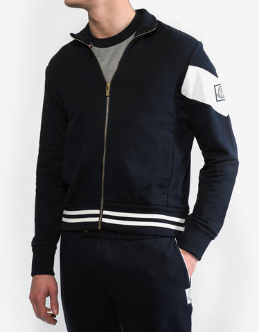 Moncler Gamme Bleu Navy Blue Contrast Stripe Sweat Top