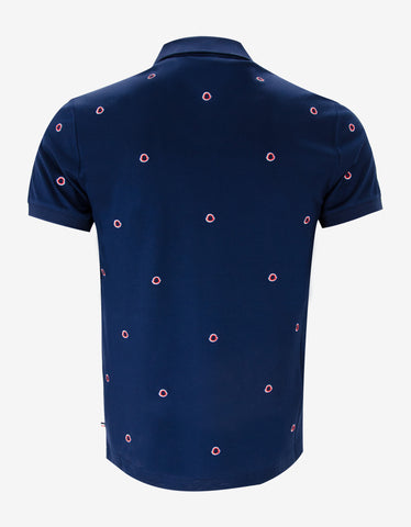 Moncler Navy Blue All-Over Logo Polo T-Shirt