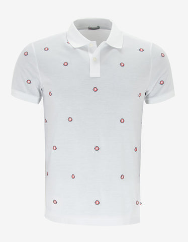 Moncler White All-Over Logo Polo T-Shirt