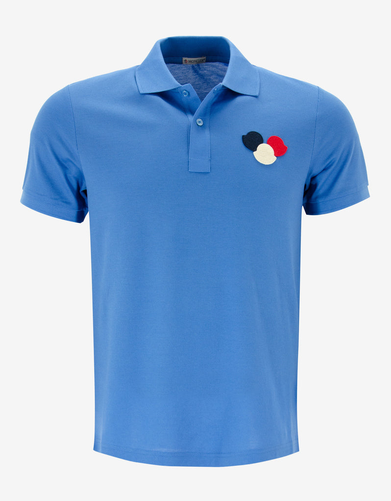 Sky Blue Tricolour Logo Polo T-Shirt