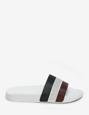 Moncler Basile White Tricolour Slide Sandals