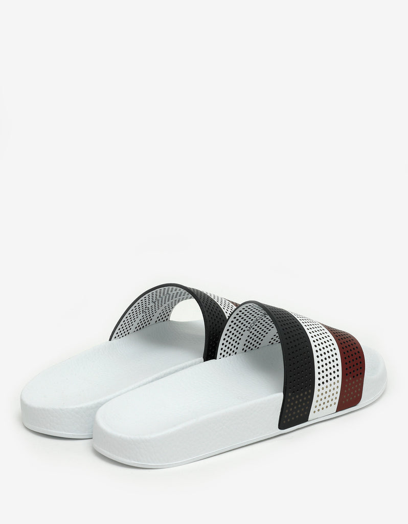 Basile White Tricolour Slide Sandals