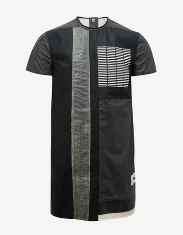 Rick Owens Black Coated Leather Front Graphic T-Shirt