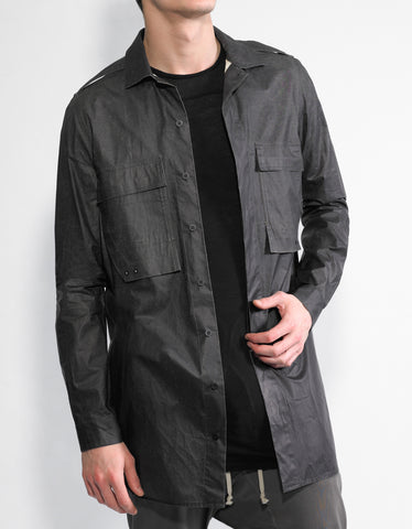 Rick Owens Black Coated Cotton Field Shirt