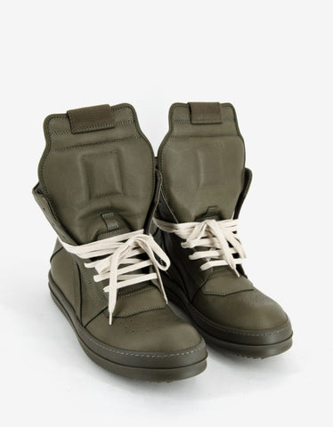 Rick Owens Geobasket Palm Green Leather High Top Trainers
