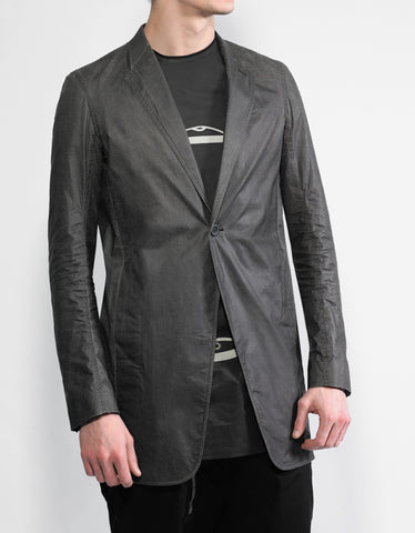 Rick Owens Stravinsky Black Coated Wool Jacket