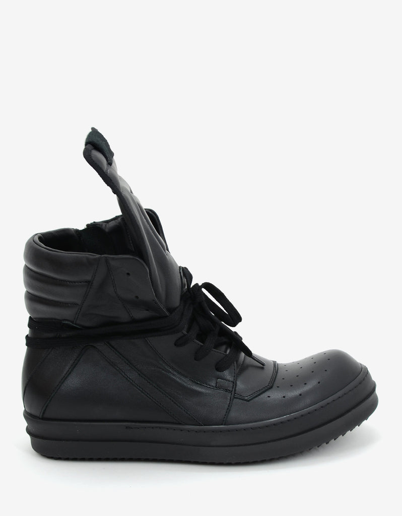 Black 'Geobasket' Leather High Top Trainers