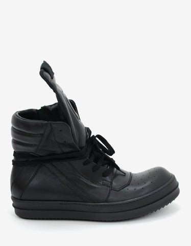 Rick Owens Black 'Geobasket' Leather High Top Trainers