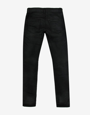 Saint Laurent Black D02 Coated Denim Skinny Jeans