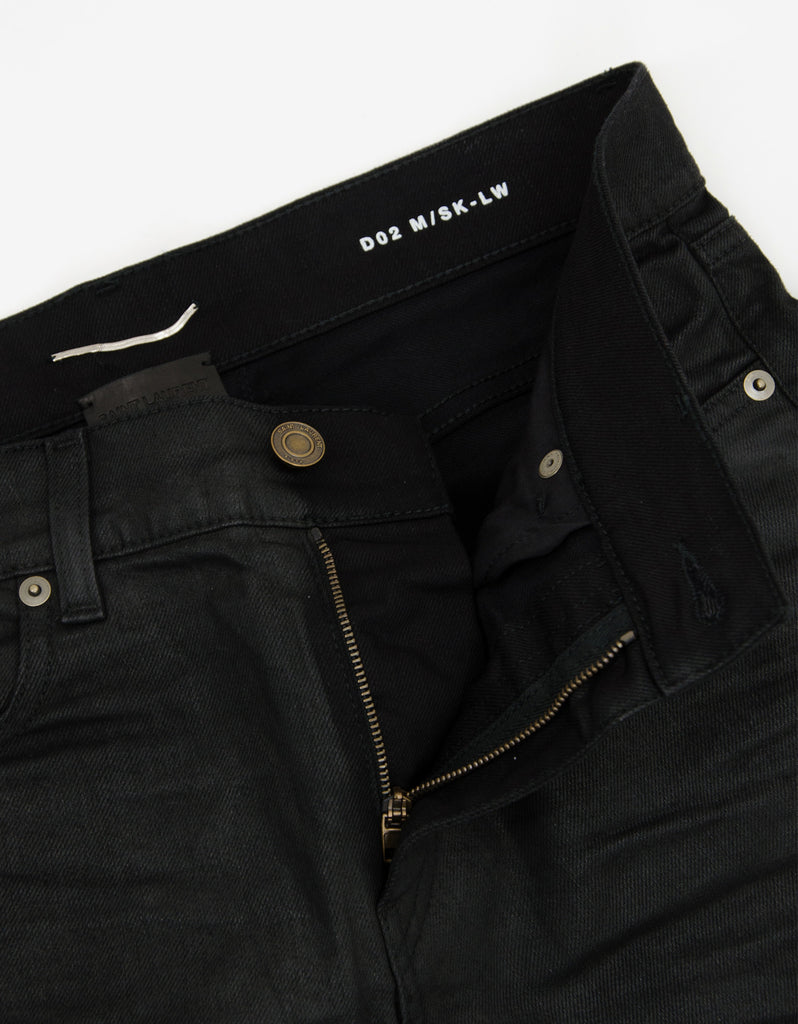 Black D02 Coated Denim Skinny Jeans