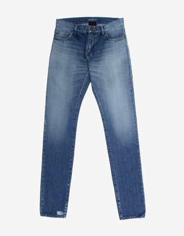 Saint Laurent Blue D10 Stonewash Denim Skinny Jeans