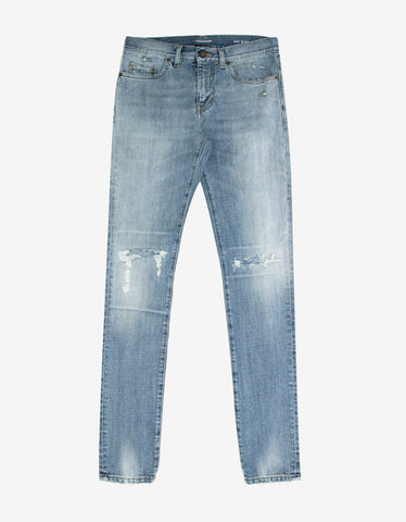Saint Laurent Blue D02 Repaired Blow Out Knee Skinny Jeans