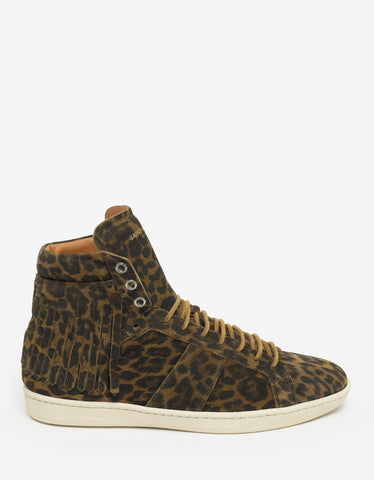 Saint Laurent SL/18H Leopard Print High Top Trainers