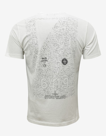 Stone Island Shadow Project White Geometric Print T-Shirt